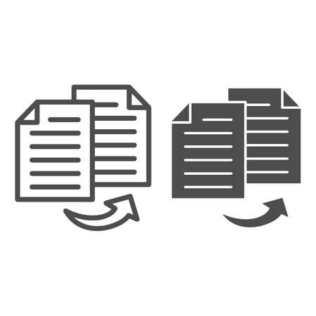 Double entry bookkeeping line and solid icon, Black bookkeeping concept, Two similar bookkeeper reports sign on white background, Copy accounting documents icon in outline style. Vector graphics.