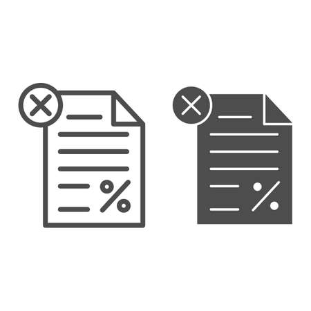Unpaid tax document line and solid icon, Black bookkeeping concept, Tax declaration paper document sign on white background, Report with percent and cross icon in outline style. Vector graphics.
