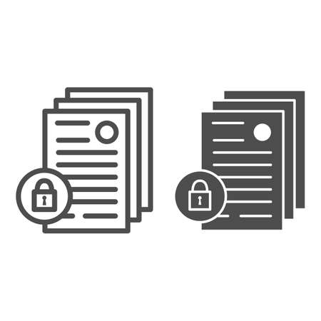Business documents with lock line and solid icon, Black bookkeeping concept, Limited access to documents sign on white background, Locked confidential file icon in outline style. Vector graphics.