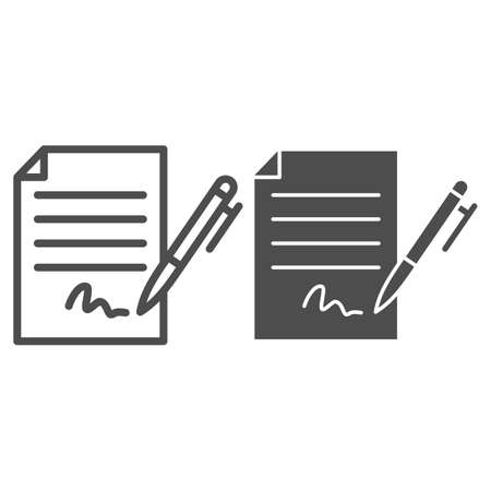Forged signature line and solid icon, Black bookkeeping concept, Fake contract sign on white background, Contract with signature and pen icon in outline style for mobile and web. Vector graphics.