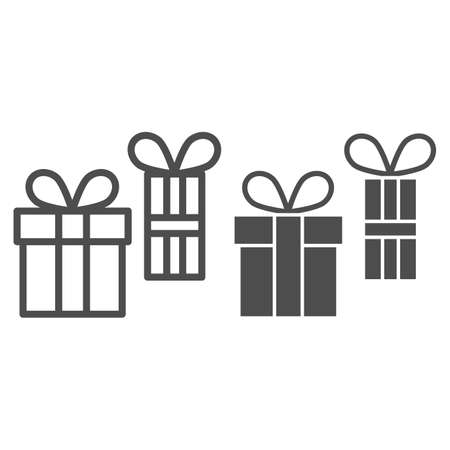 Two Gifts line and solid icon, Black bookkeeping concept, two gift boxes sign on white background, present box icon in outline style for mobile concept and web design. Vector graphics.