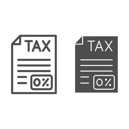 Zero Tax document line and solid icon, Black bookkeeping concept, Submission of zero tax returns sign on white background, Billing document icon in outline style for mobile and web. Vector graphics.