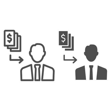 Pay black money to person line and solid icon, Black bookkeeping concept, Money cash corruption sign on white background, bribery icon in outline style for mobile concept, web design. Vector graphics. Ilustrace