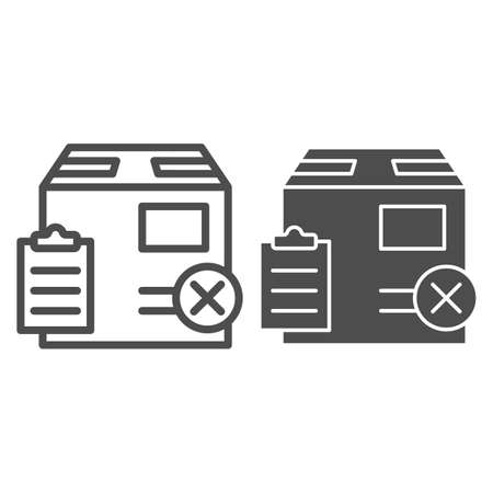 Parcel box with report and cross line and solid icon, Black bookkeeping concept, Fake delivery sign on white background, unpack cardboard box icon in outline style for mobile and web. Vector graphics.
