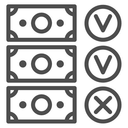 Banknote accepted and not accepted line icon, Black bookkeeping concept, Unaccounted money from company sign on white background, Forbidden money icon in outline style. Vector graphics.