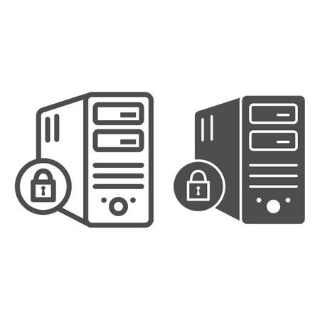 Computer and lock line and solid icon, Black bookkeeping concept, Closed server sign on white background, Server security with closed padlock icon in outline style. Vector graphics. Ilustrace