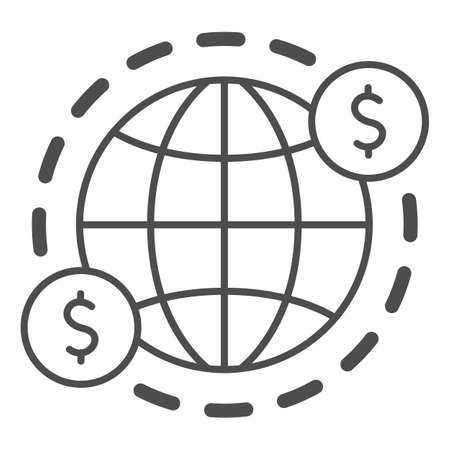 Earth and US Dollars Symbol thin line icon, Black bookkeeping concept, cash offshore sign on white background, International currency money transfers icon in outline style. Vector graphics. Ilustrace
