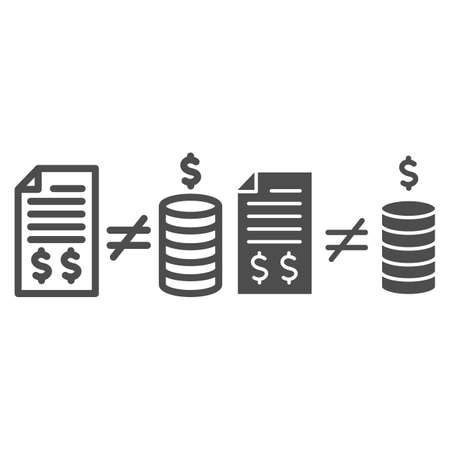 Contract with money and inequality sign line and solid icon, Black bookkeeping concept, Mismatch of money in report sign on white background, inequality in bookkeeping icon in outline style. Vector.