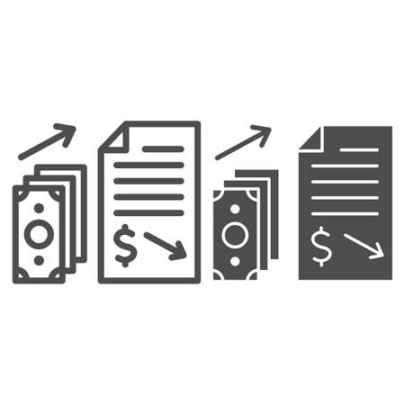 Financial contract with money giving line and solid icon, Black bookkeeping concept, Income in shadows sign on white background, Paid contract icon in outline style for mobile, web. Vector graphics.