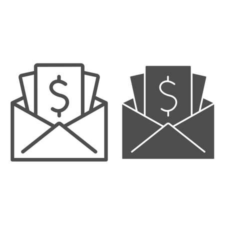 Salary in envelope line and solid icon, Black bookkeeping concept, Give black salary sign on white background, Wages in envelope icon in outline style for mobile concept, web design. Vector graphics.