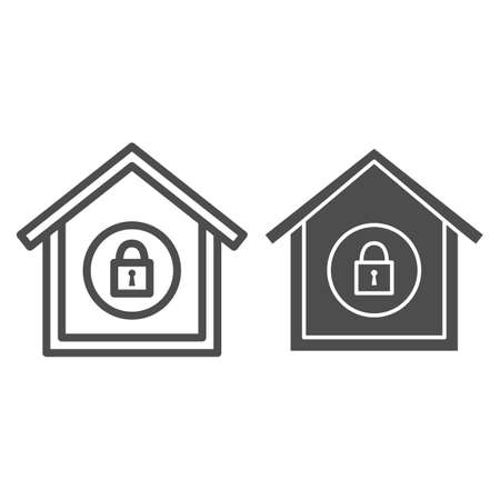 House with closed lock line and solid icon, Black bookkeeping concept, Private security sign on white background, Home access is closed icon in outline style for mobile and web. Vector graphics.