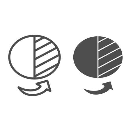 Half circle of economy in shadow line and solid icon, Black bookkeeping concept, Illegal part of funds sign on white background, enterprise in shadow sector icon in outline style. Vector graphics. Ilustrace