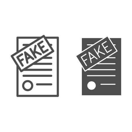 Fake documents line and solid icon, Black bookkeeping concept, forgery page of contract sign on white background, Fake contract icon in outline style for mobile concept, web design. Vector graphics.