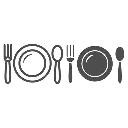 Plate and spoon with fork line and solid icon, Black bookkeeping concept, Lunch at a restaurant sign on white background, lunch cutlery icon in outline style for mobile, web design. Vector graphics.