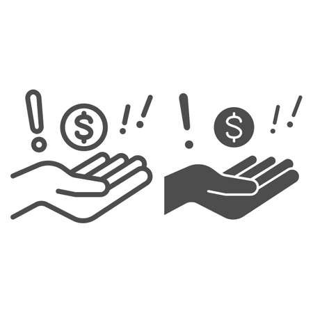 Hand with dollar and exclamation line and solid icon, Black bookkeeping concept, Illegal cashing of funds sign on white background, coin in hand in corruption deal icon in outline. Vector graphics.