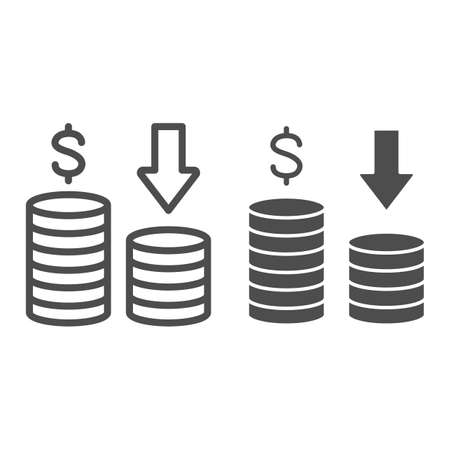 Reduce actual income line and solid icon, Black bookkeeping concept, Cut Income sign on white background, two stacks of coins and a down arrow icon in outline style for mobile, web. Vector graphics. Ilustrace