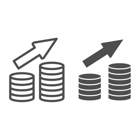 Deposits line and solid icon, Black bookkeeping concept, Growing Coin Stacks sign on white background, growth in savings icon in outline style for mobile concept and web design. Vector graphics.
