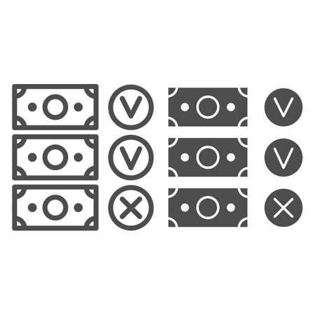 Banknote accepted and not accepted line and solid icon, Black bookkeeping concept, Unaccounted money from company sign on white background, Forbidden money icon in outline style. Vector graphics.
