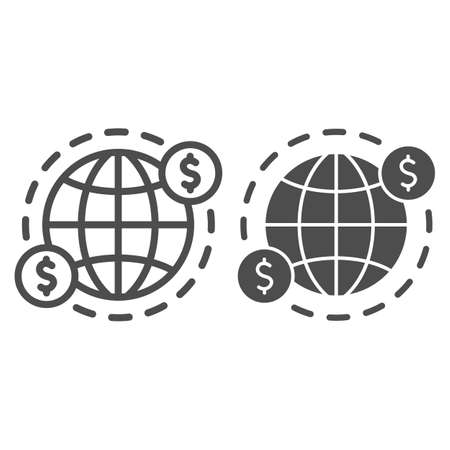 Earth and US Dollars Symbol line and solid icon, Black bookkeeping concept, cash offshore sign on white background, International currency money transfers icon in outline style. Vector graphics. Ilustrace