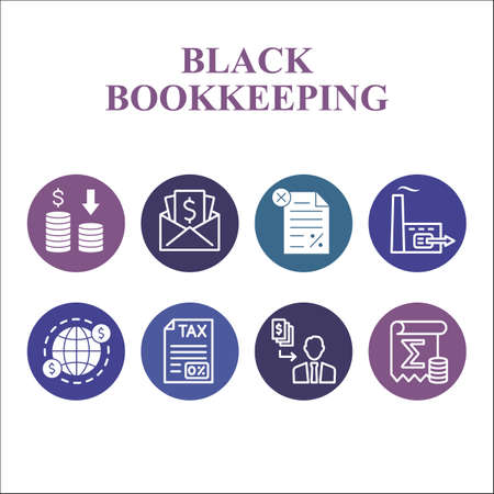 Modern Black bookkeeping Infographic design template with icons. Financial management Infographic visualization in bubble design on white background. Creative vector illustration for infographic.