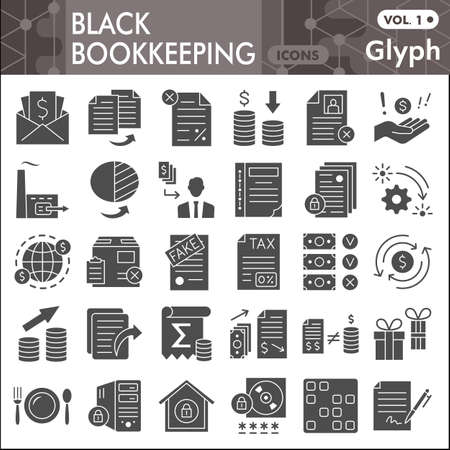 Black bookkeeping solid icon set, Financial management symbols collection or sketches. Accounting glyph style signs for web and app. Vector graphics isolated on white background.