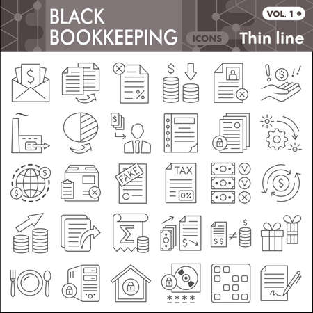 Black bookkeeping thin line icon set, Financial management symbols collection or sketches. Accounting linear style signs for web and app. Vector graphics isolated on white background.