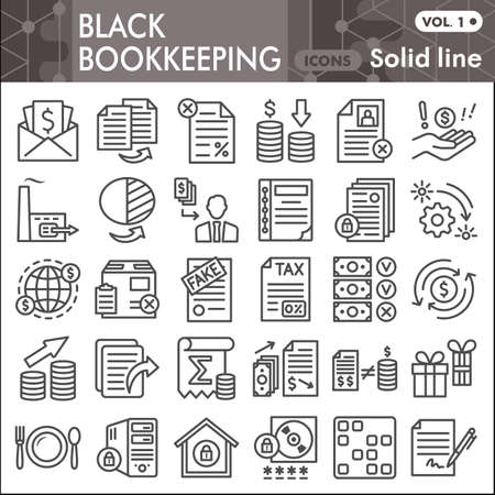 Black bookkeeping line icon set, Financial management symbols collection or sketches. Accounting linear style signs for web and app. Vector graphics isolated on white background.