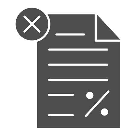 Unpaid tax document solid icon, Black bookkeeping concept, Tax declaration paper document sign on white background, Report with percent and cross icon in glyph style. Vector graphics.