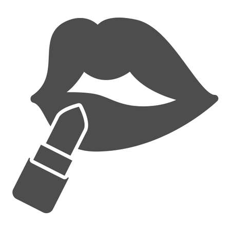 Lips with lipstick solid icon, Parfumery concept, paint lips with lipstick sign on white background, Lips with lipstick icon in glyph style for mobile concept web design. Vector graphics.