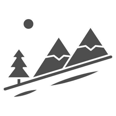 Winter mountain landscape solid icon, World snowboard day concept, Descent from the mountain sign on white background, ski track icon in glyph style for mobile and web. Vector graphics. Ilustração Vetorial