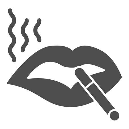 Lips with cigarette solid icon, smoking concept, Lips with fiered cigarette sign on white background, Vector graphics.