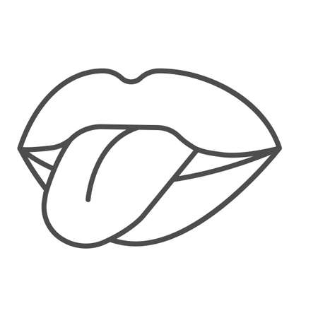 Mouth sticking out tongue thin line icon, sexuality concept, mouth and tongue sign on white background, show tongue icon in outline style for mobile concept and web design. Vector graphics. 矢量图像
