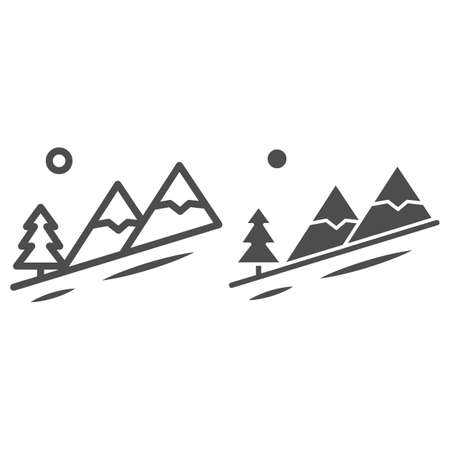Winter mountain landscape line and solid icon, World snowboard day concept, Descent from the mountain sign on white background, ski track icon in outline style for mobile and web. Vector graphics.