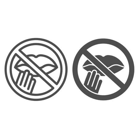 Prohibition of touching lips line and solid icon, prevent measures sign on white background, Do not touch lips icon in outline style for mobile, web. Vector graphics.