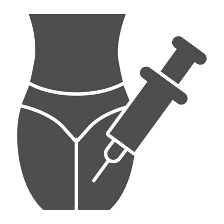 Body and injection in leg solid icon, injections concept, Body plastic surgery sign on white background, Legs of young woman and syringe icon in glyph style for mobile. Vector graphics.