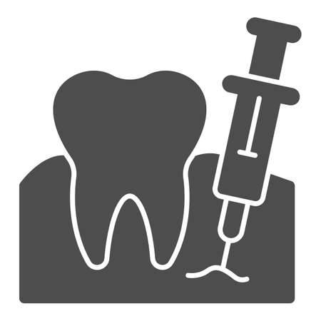 Tooth with anesthesia syringe solid icon, injections concept, Teeth anesthesia sign on white background, dental injection for tooth extraction icon in glyph style. Vector graphics.