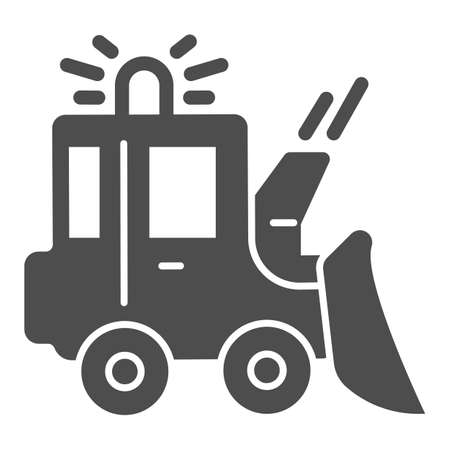 Snowblower solid icon, Winter season concept, snow removal machine sign on white background, snow plow tractor icon in glyph style for mobile concept and web design. Vector graphics.