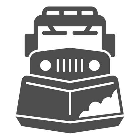 Snow plow truck solid icon, Winter season concept, snow removal machine sign on white background, snow plow tractor icon in glyph style for mobile concept and web design. Vector graphics.