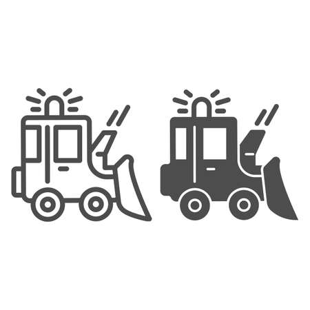 Snowblower line and solid icon, Winter season concept, snow removal machine sign on white background, snow plow tractor icon in outline style for mobile concept and web design. Vector graphics.