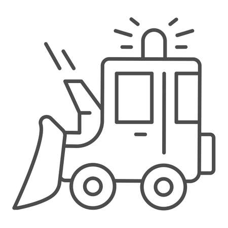 Snowblower thin line icon, Winter season concept, snow removal machine sign on white background, snow plow tractor icon in outline style for mobile concept and web design. Vector graphics. Vettoriali