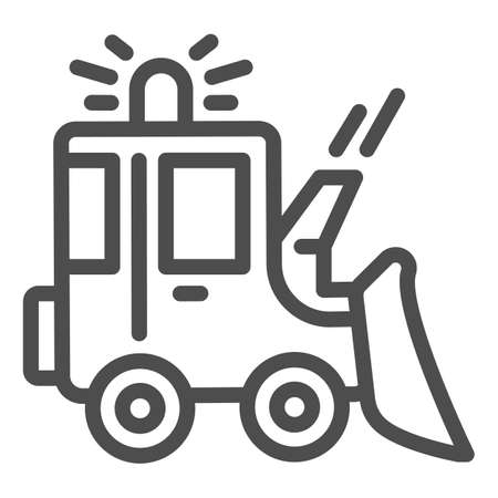 Snowblower line icon, Winter season concept, snow removal machine sign on white background, snow plow tractor icon in outline style for mobile concept and web design. Vector graphics.