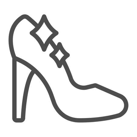 Cinderella shoe line icon, fairytale concept, Shiny slipper sign on white background, Cute princess fantasy crystal shoes icon in outline style for mobile and web design. Vector graphics.