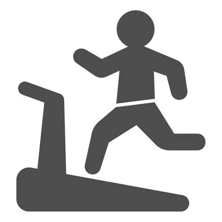 Man on treadmill solid icon, Diet concept, Exercise machine sign on white background, Man running on treadmill icon in glyph style for mobile concept and web design. Vector graphics.