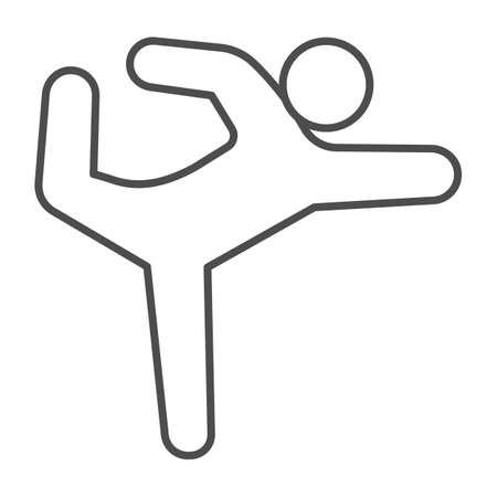 Gymnast thin line icon, Diet concept, athletic person sign on white background, gymnast silhouette in exercise and in balance icon in outline style for mobile and web design. Vector graphics.