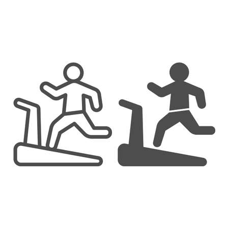 Man on treadmill line and solid icon, Diet concept, Exercise machine sign on white background, Man running on treadmill icon in outline style for mobile concept and web design. Vector graphics.