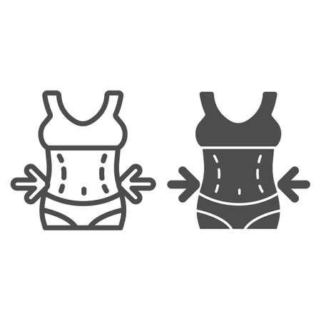 Women waist with arrows line and solid icon, Diet concept, slim diet sign on white background, Weight loss icon in outline style for mobile concept and web design. Vector graphics. 矢量图像