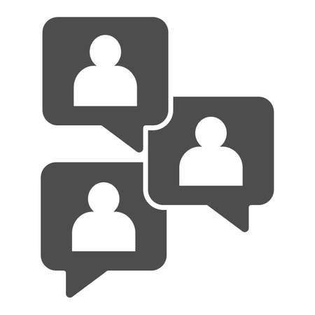 Conversations with users solid icon, startup concept, Chat sign on white background, People chatting icon in glyph style for mobile concept and web design. Vector graphics.