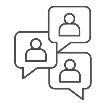 Conversations with users thin line icon, startup concept, Chat sign on white background, People chatting icon in outline style for mobile concept and web design. Vector graphics.