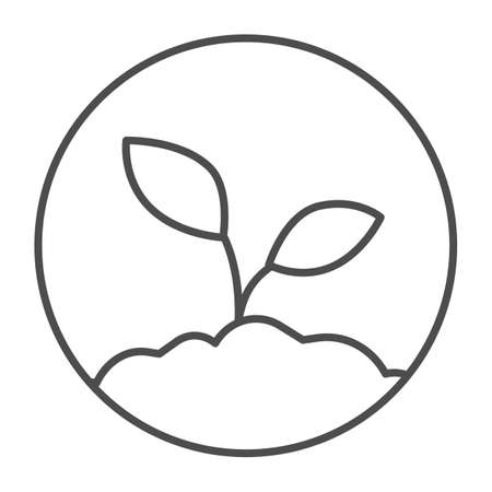 Sprout in the ground thin line icon, startup concept, ecologically pure product sign on white background, plant growing in ground icon in outline style for mobile and web design. Vector graphics. Stock Illustratie