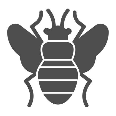 Fly solid icon, pest control concept, Flea sign on white background, bloodsucker parasites icon in glyph style for mobile concept and web design. Vector graphics.